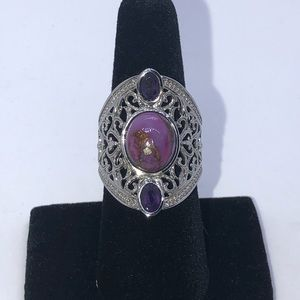 Purple Turquoise and Amethyst Ring